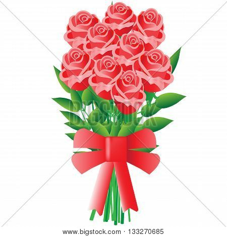 Beautiful celebratory bouquet of red roses with a bow on a white background