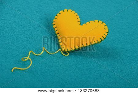 Felt Craft And Art Yellow Heart, Thread On Blue