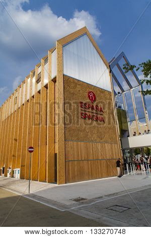 MILAN, ITALY - JUNE 1, 2015: Unidentified people by the Spanish Pavilion at EXPO 2015 in Milan Italy. EXPO 2015 took place from 1 May to 31 October 2015.