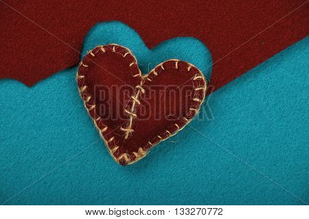 Felt Craft And Art Brown Heart Cut Out On Blue