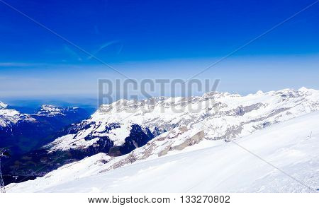 This snowy mountain landscape situated in Luzern Switzerland