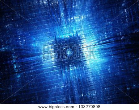 Blue glowing hardware fractal computer generated abstract background