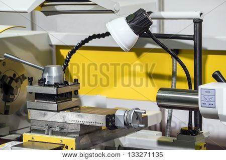 Lathe-milling equipment, metal processing device. Industrial background