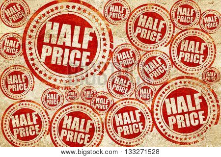 half price, red stamp on a grunge paper texture