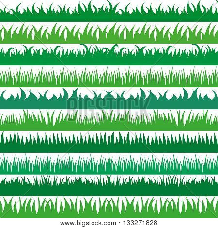 Set of spring green grass horizontal borders. Green grass collection on white background