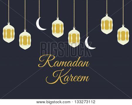 Ramadan Kareem, Lantern And Moon, Muslim Holiday Lights On A Black Background. Vector.