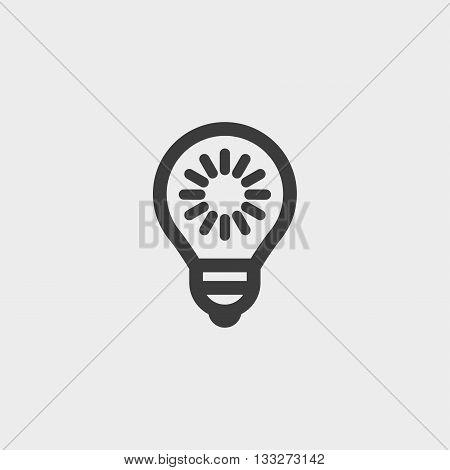 Lightbulb icon in a flat design in black color. Vector illustration eps10