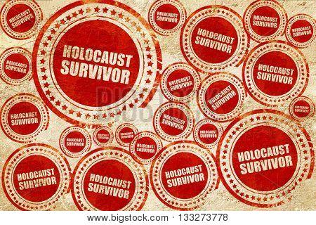 holocaust survivor, red stamp on a grunge paper texture