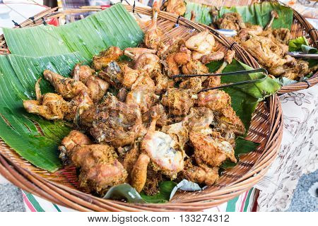Fried Chicken With Spice, Popular At Food Bazaar During Ramadan.