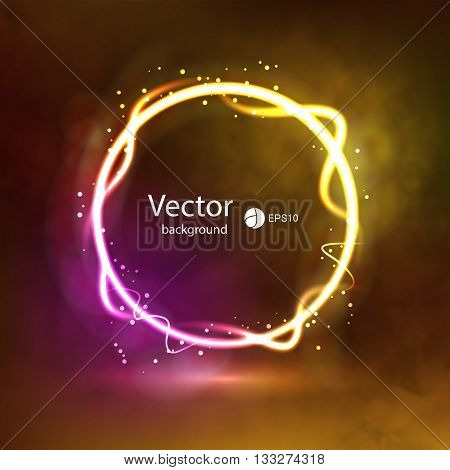 Abstract Dark Glowing Circle Background on Smoky Backdrop. Glowing shining circle. Show Presentation Background