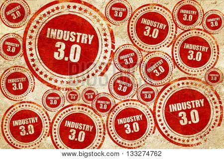 industry 3.0, red stamp on a grunge paper texture
