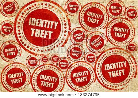 Identity theft fraud background, red stamp on a grunge paper tex