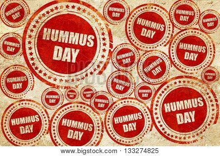 hummus day, red stamp on a grunge paper texture