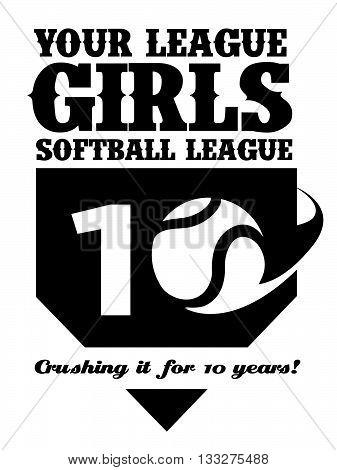 Customizable vector artwork for a girls softball league or team