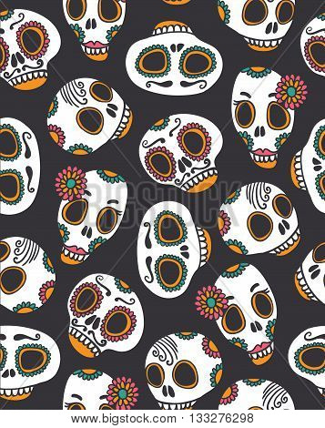 Funny seamless scull pattern for Halloween and day of the dead.