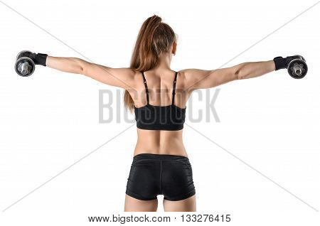 Coutout confident sportswoman lifts dumbbells for training deltoid. Serious attitude. Power training. Biceps Exercises. Power of body. Healthy lifestyle. Fitness and sport.