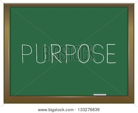 Illustration depicting a green chalkboard with a purpose concept.