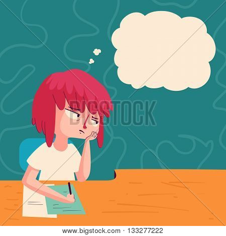 Vector illustration of a cartoon girl studying with a bored expression next to a floating thought balloon.