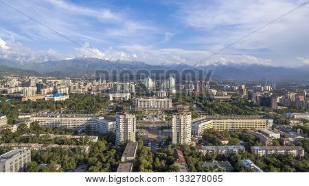 Aerial view of the building of city administration at the Republic Square in Almaty Kazakhstan.