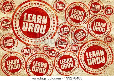 learn urdu, red stamp on a grunge paper texture