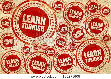 learn turkish, red stamp on a grunge paper texture