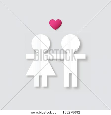Boy and girl. Graphic design element