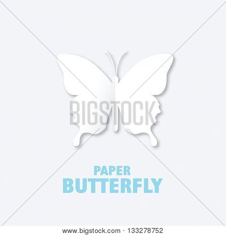 Paper butterfly - graphic design element.