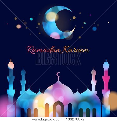 Ramadan kareem. Ramadan background colorful design vector illustration. Ramadan greeting card poster flyer backdrop. Beautiful glow light with mosque and minarets silhouette.