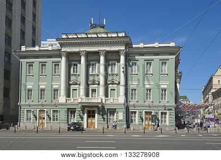 MOSCOW, RUSSIA - MAY 31, 2016: View of the House of Unions or the Honorable Assembly in Moscow Bolshaya Dmitrovka street 1 built in classical style in the 18th century architectural monument