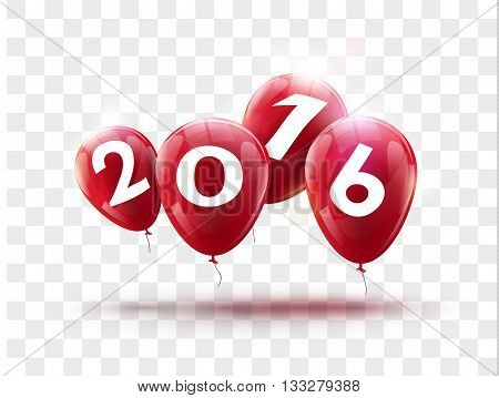 Sample greeting card 2016 Christmas card with realistic Red balloons and numbers on transparent background. Image Printer, stocks, greetings, e-mail, Web. Vector illustration.