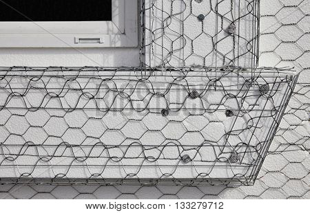 Home Building Industry House Window Frame Stucco Mesh Installation Closeup