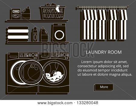 Laundry room with washing machine facilities for washing washing powder. Modern style vector illustration.