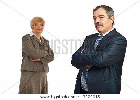 Middle Aged Business Man And His Colleague