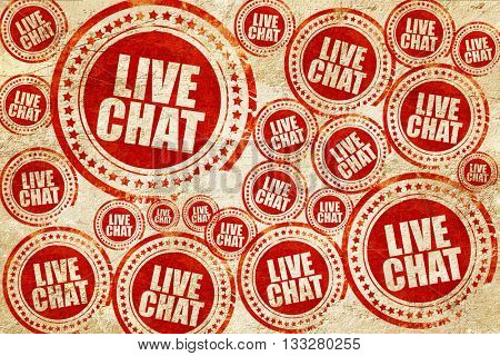 live chat, red stamp on a grunge paper texture