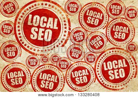 local seo, red stamp on a grunge paper texture