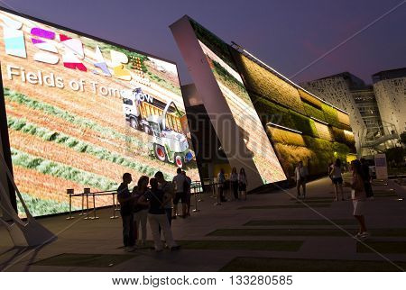 MILAN, ITALY - JUNE 29 2015: People outside the Israel Pavilion at Expo Universal Exhibition in Milan on the theme on food in June 2015.