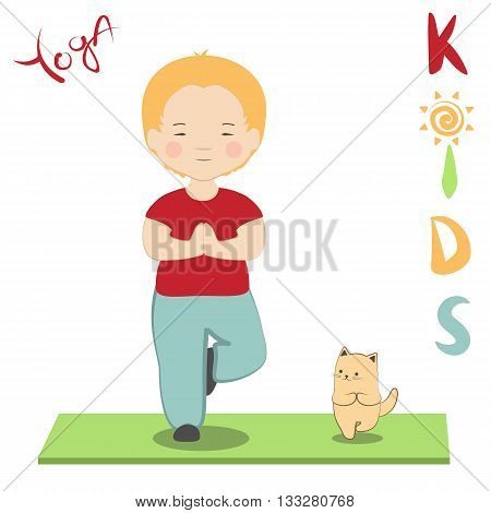 Vector illustration boy and his cat practicing yoga. Kid's yoga fun colorful poster. Cute little child and his kitten doing yoga together. Cartoon style tree pose asana vriksasana for beginners.