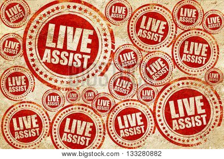 live assist, red stamp on a grunge paper texture