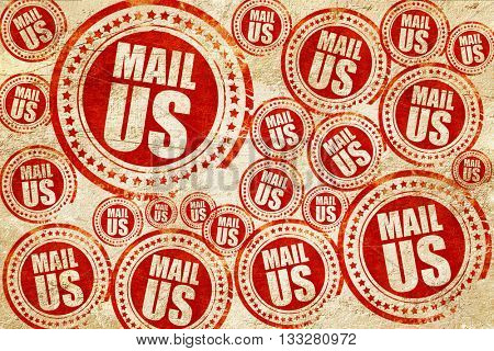 mail us, red stamp on a grunge paper texture