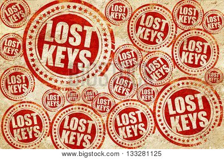 lost keys, red stamp on a grunge paper texture