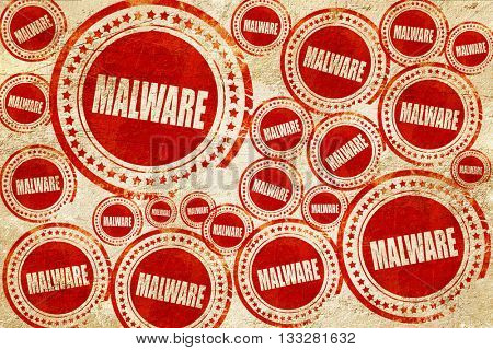 Malware computer background, red stamp on a grunge paper texture