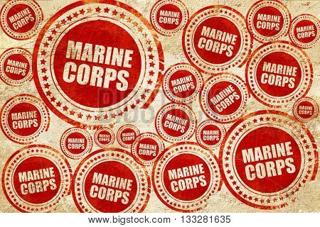 marine corps, red stamp on a grunge paper texture
