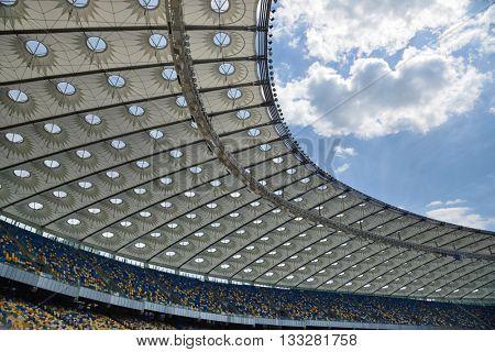 Kiev, Ukraine, June 4, 2016. NSC Olimpiyskiy, roof structure