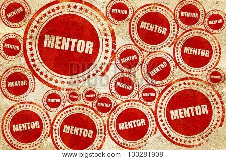 mentor, red stamp on a grunge paper texture