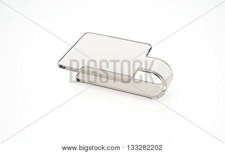 Transperent plstic handpalette on the white background