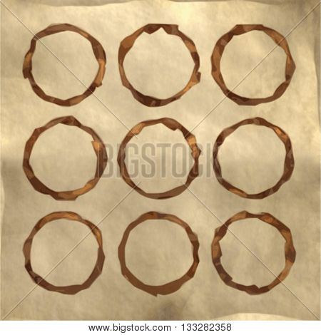 Set of Coffee stains on paper texture. Coffee cup prints. Vector illustration