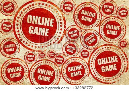 online game, red stamp on a grunge paper texture