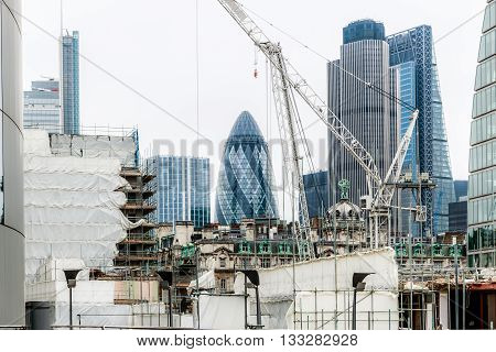 London, UK - June 3, 2016 - London financial district surrounded by construction sites
