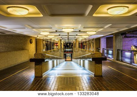 London, UK - June 3, 2016 - Pedestrian Passage to Barbican Centre on Gilbert Bridge in London