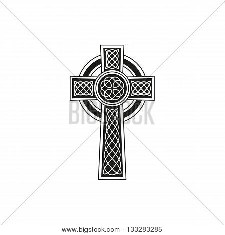 Simple black celtic cross with details on a white background